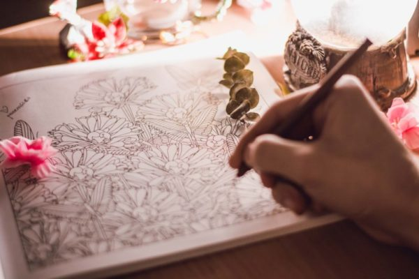coloring as writers play to overcome writers block