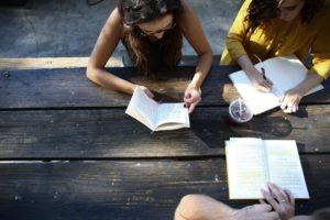writing groups meet at picnic table