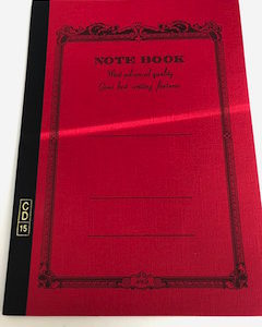 thin red notebook