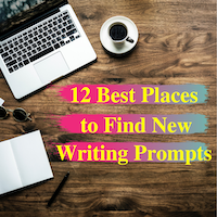 laptop and coffee cups on wooden table with text saying best places to find new writing prompts