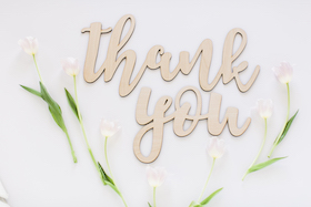 A Gratitude Practice for Writers wooden thank you sign