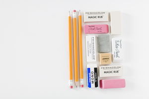 yellow lead pencils and 9 erasers to illustrate how to learn to love your first draft