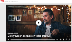 Photo of Ethan Hawke for his Ted Talk illustrating does my writing even matter right now