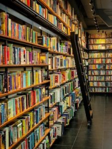bookstore with black ladder ready to publish