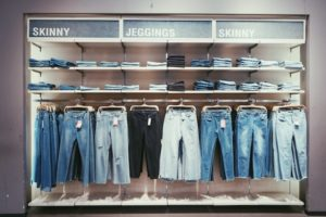 Selection of blue jeans as metaphor for outlining a book