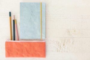 blue notebook and orange pencil case #thenotebookproject